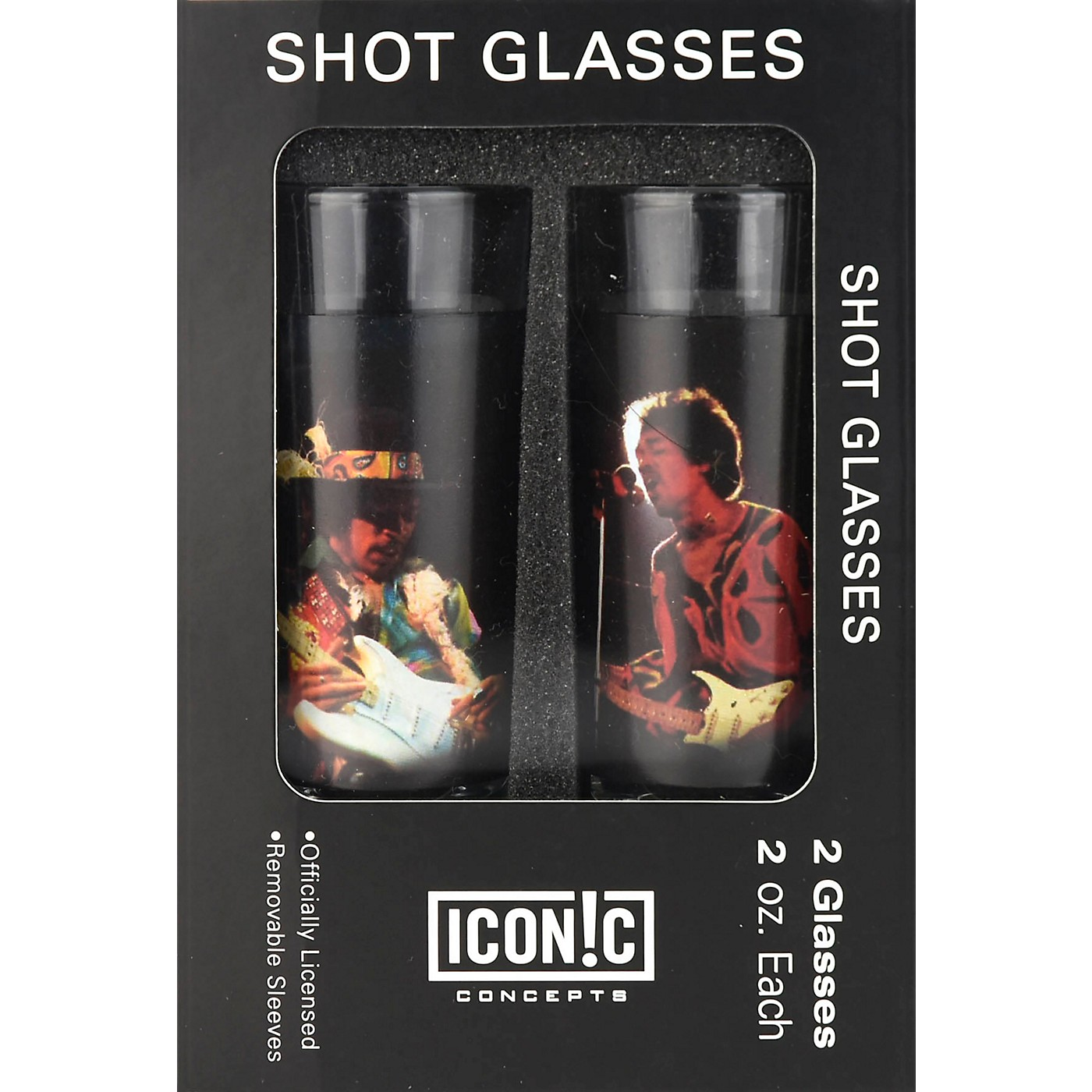 Iconic Concepts Jimi Hendrix 2 Piece Shot Glass Set Silhouettes Color Aluminum Sleeves thumbnail