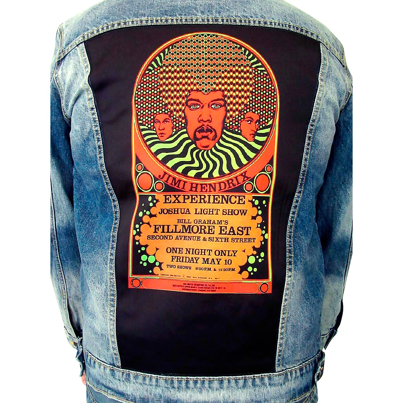 Dragonfly Clothing Jimi Hendrix Experience 3 Faces - Psychedelic Denim Jacket thumbnail