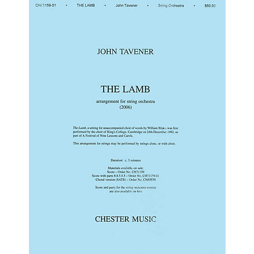 Music Sales John Tavener: The Lamb (String Orchestra Version) Score SATB thumbnail