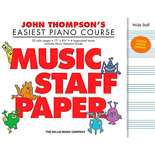 Hal Leonard John Thompson's Easiest Piano Course  Music Staff Paper in Color thumbnail