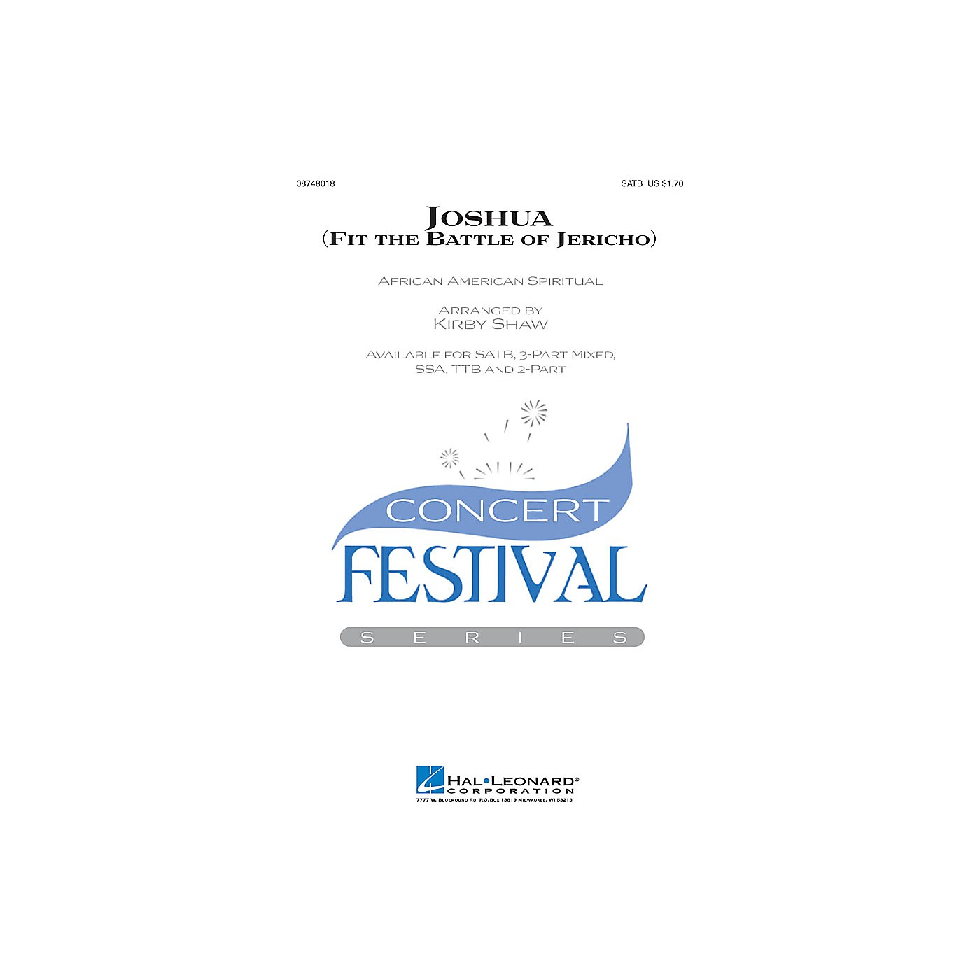 Hal Leonard Joshua! (Fit the Battle of Jericho) SATB arranged by Kirby Shaw thumbnail