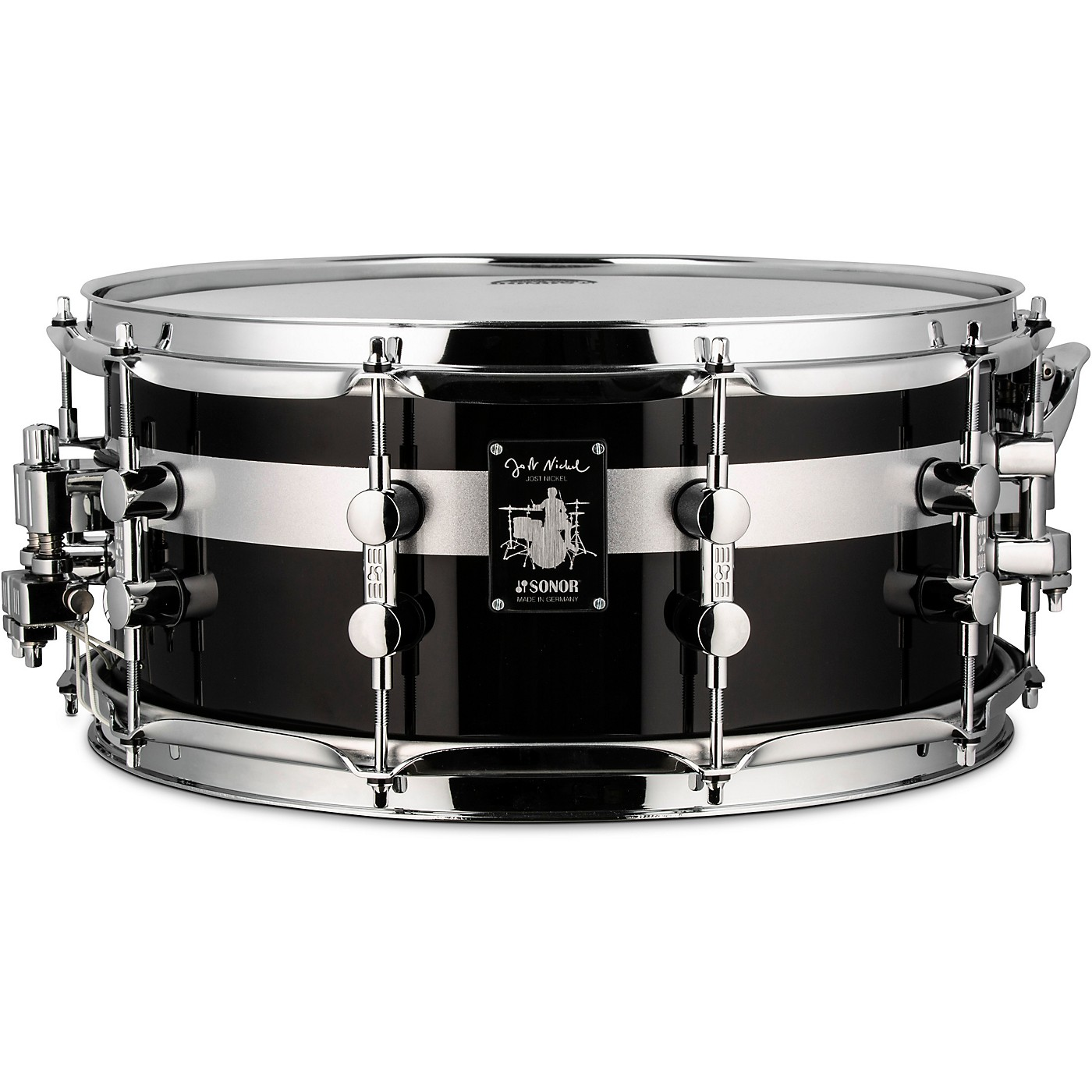 SONOR Jost Nickel Beech Snare Drum, Gloss Black with Stripe, 14 x 6.5 in. thumbnail