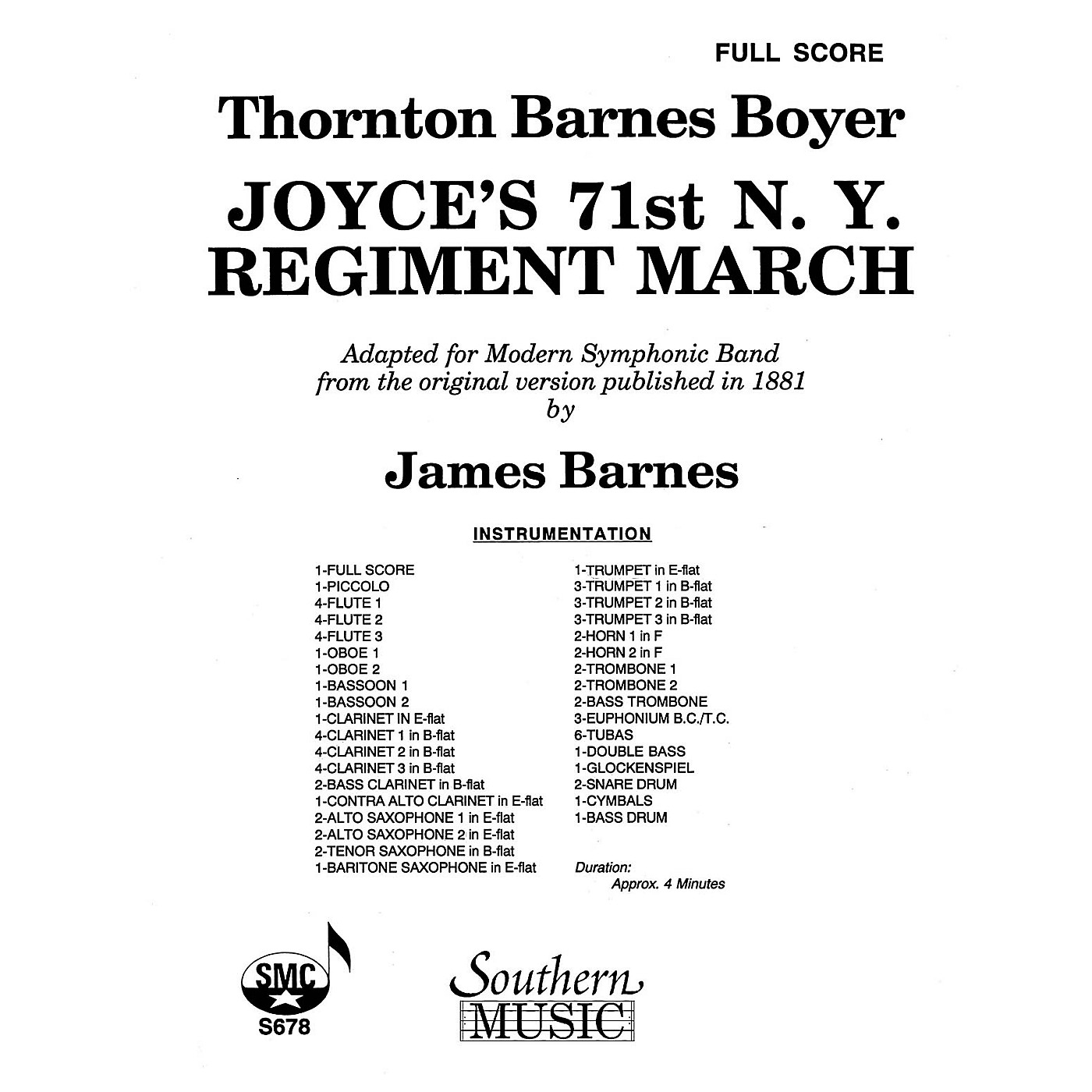 Southern Joyce's 71st N.Y. Regiment March (Band/Concert Band Music) Concert Band Arranged by James Barnes thumbnail