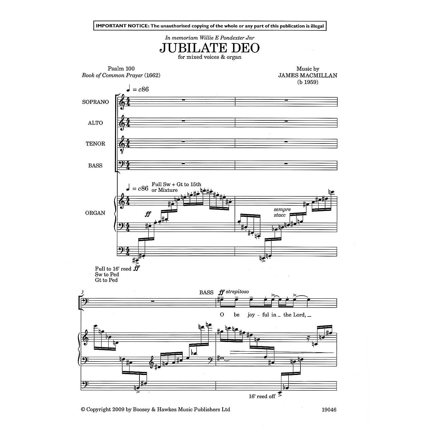 Boosey and Hawkes Jubilate Deo SATB, Organ composed by James MacMillan thumbnail