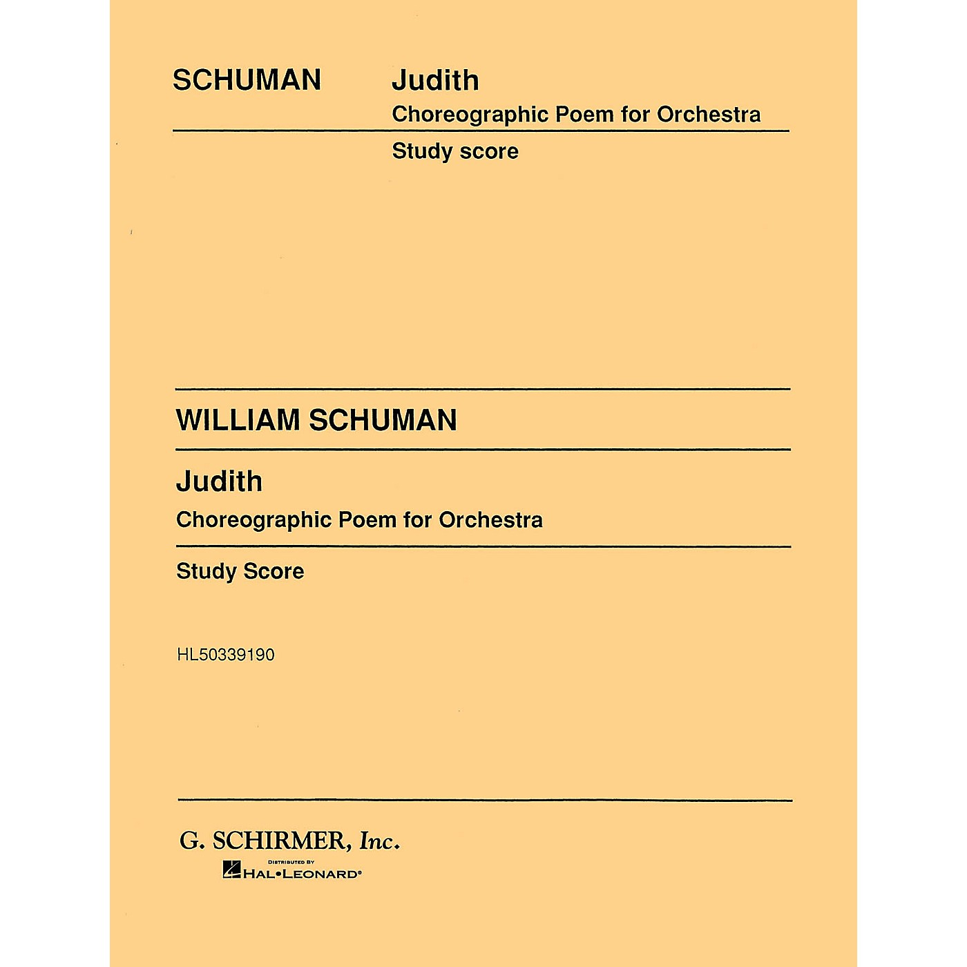 G. Schirmer Judith (Study Score No. 58) Study Score Series Composed by William Schuman thumbnail