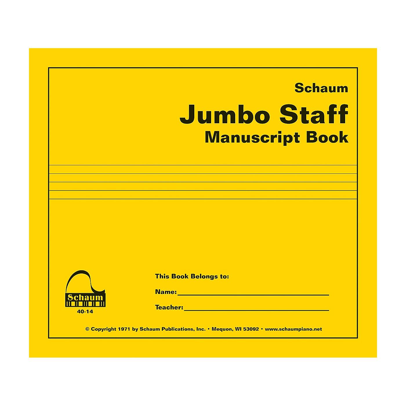 SCHAUM Jumbo Staff Manuscript Book Educational Piano Series Softcover thumbnail