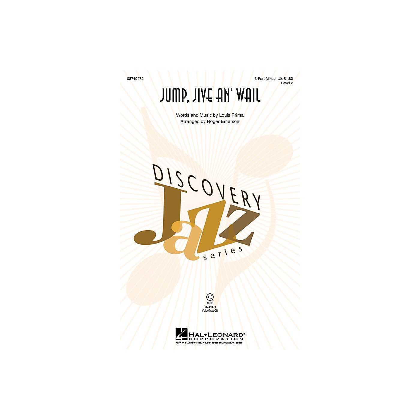Hal Leonard Jump, Jive an' Wail (Discovery Level 2) 2-Part by Louis Prima Arranged by Roger Emerson thumbnail