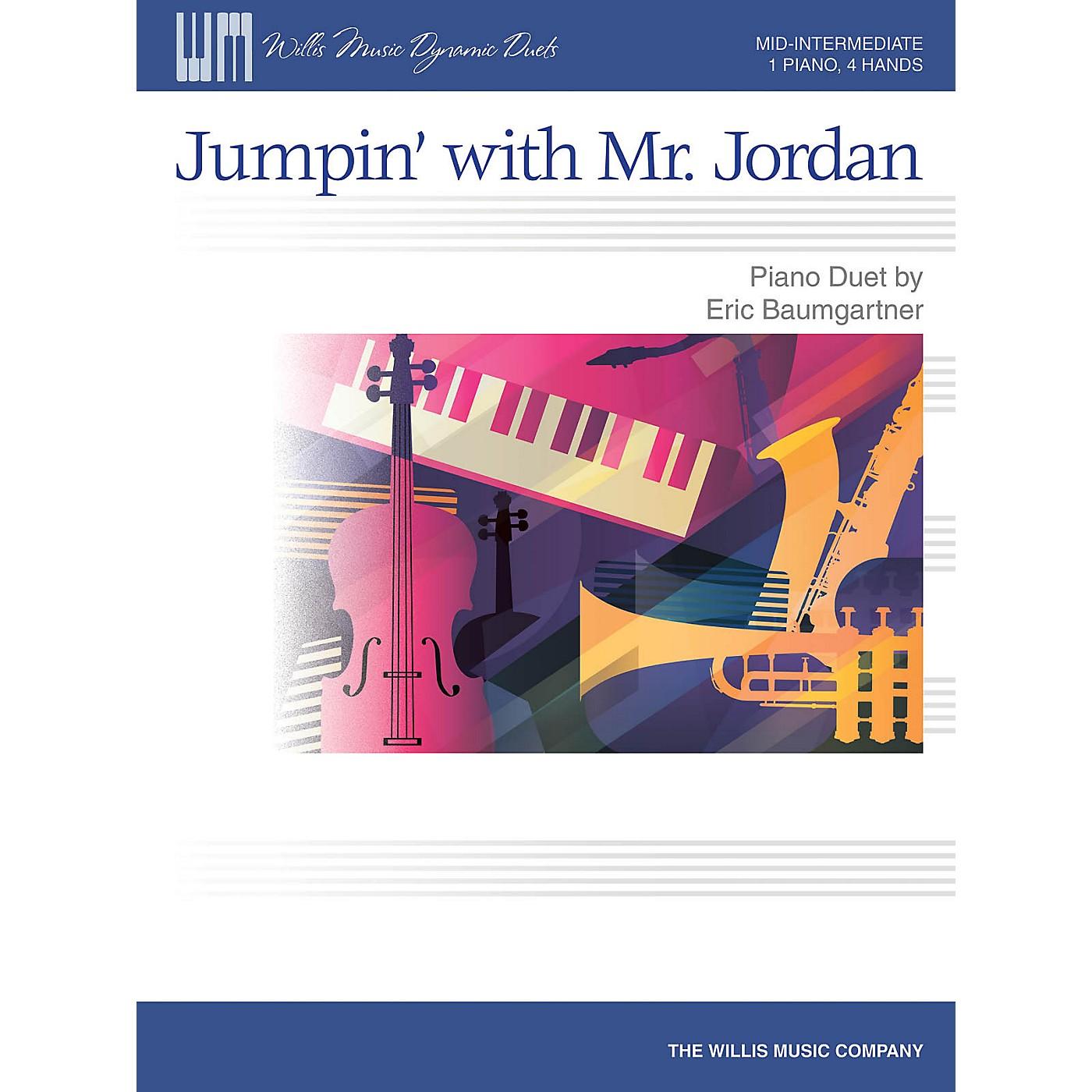 Willis Music Jumpin' with Mr. Jordan - Mid-Intermediate Level Piano Duet - 1 Piano, 4 Hands by Eric Baumgartner thumbnail