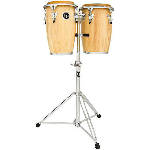 LP Junior Wood Congas with Chrome Hardware and Stand thumbnail