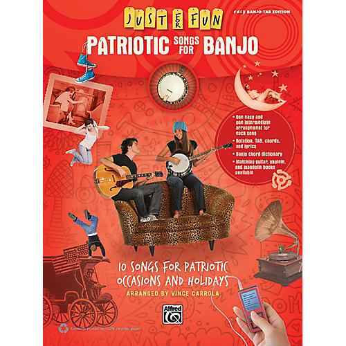 Alfred Just for Fun Patriotic Songs for Banjo Easy TAB Book thumbnail