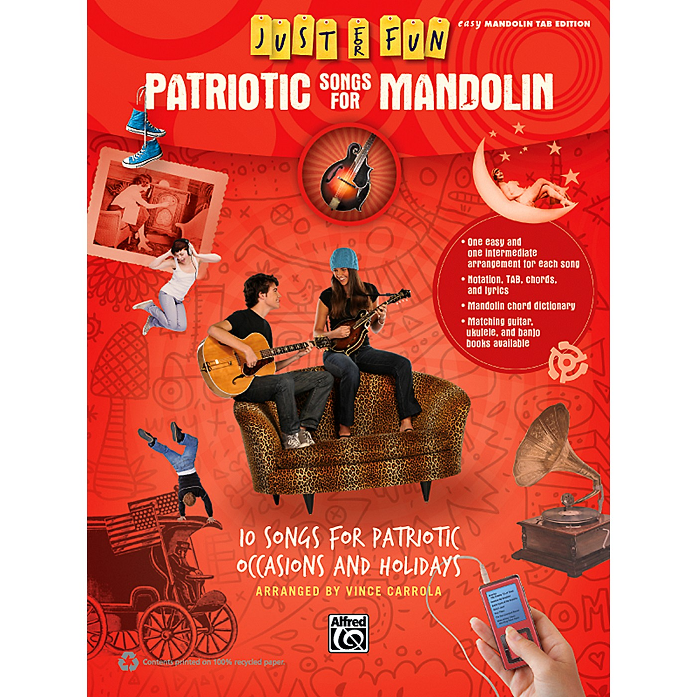 Alfred Just for Fun Patriotic Songs for Mandolin Easy TAB Book thumbnail