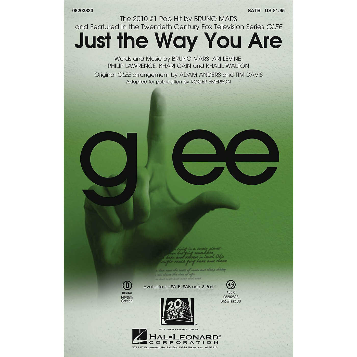 Hal Leonard Just the Way You Are (featured in Glee) SATB by Bruno Mars arranged by Adam Anders thumbnail