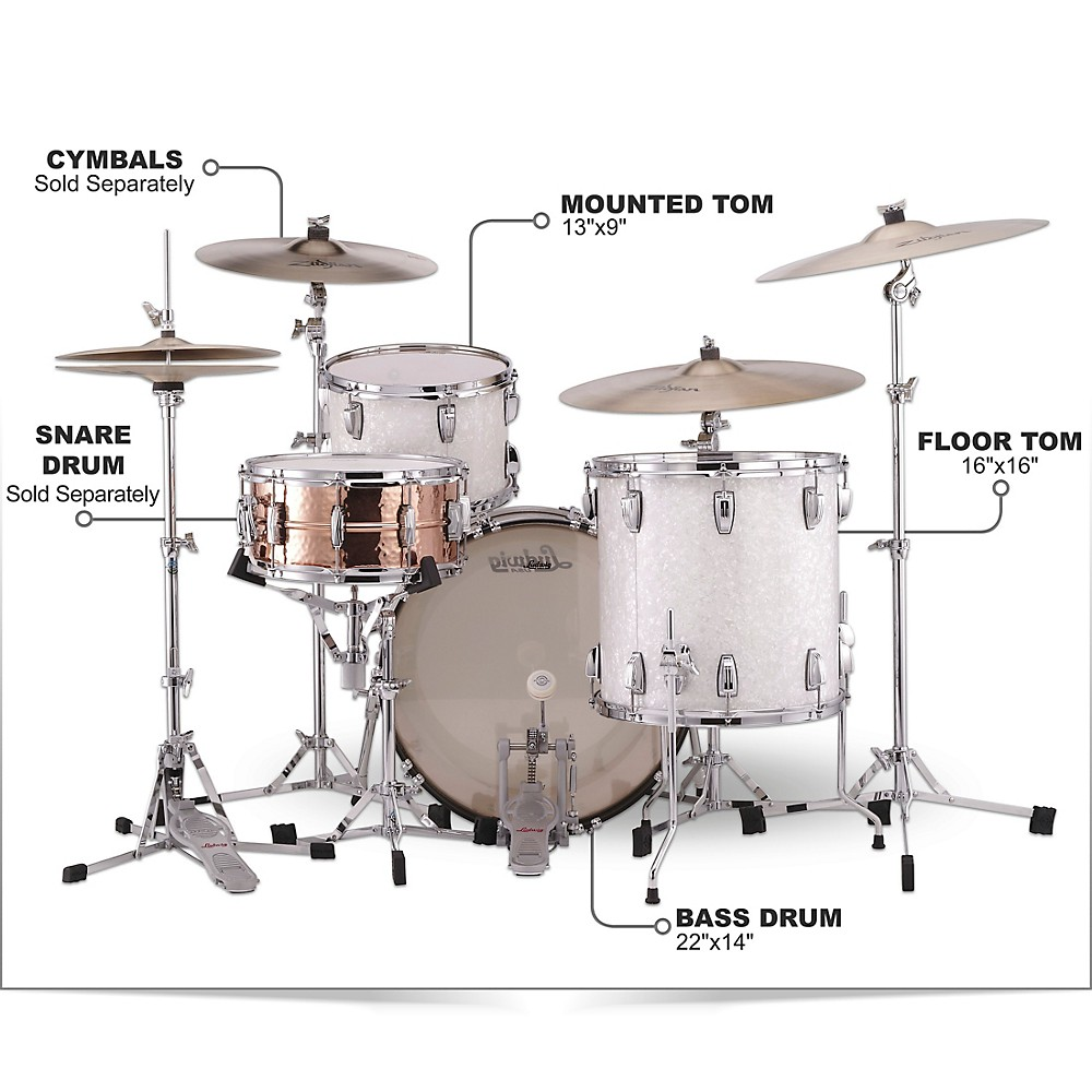 Ludwig-Classic-Maple-3-Piece-Fab-Shell-Pack-w-22-034-Bass-Drum-White-Marine-Pearl