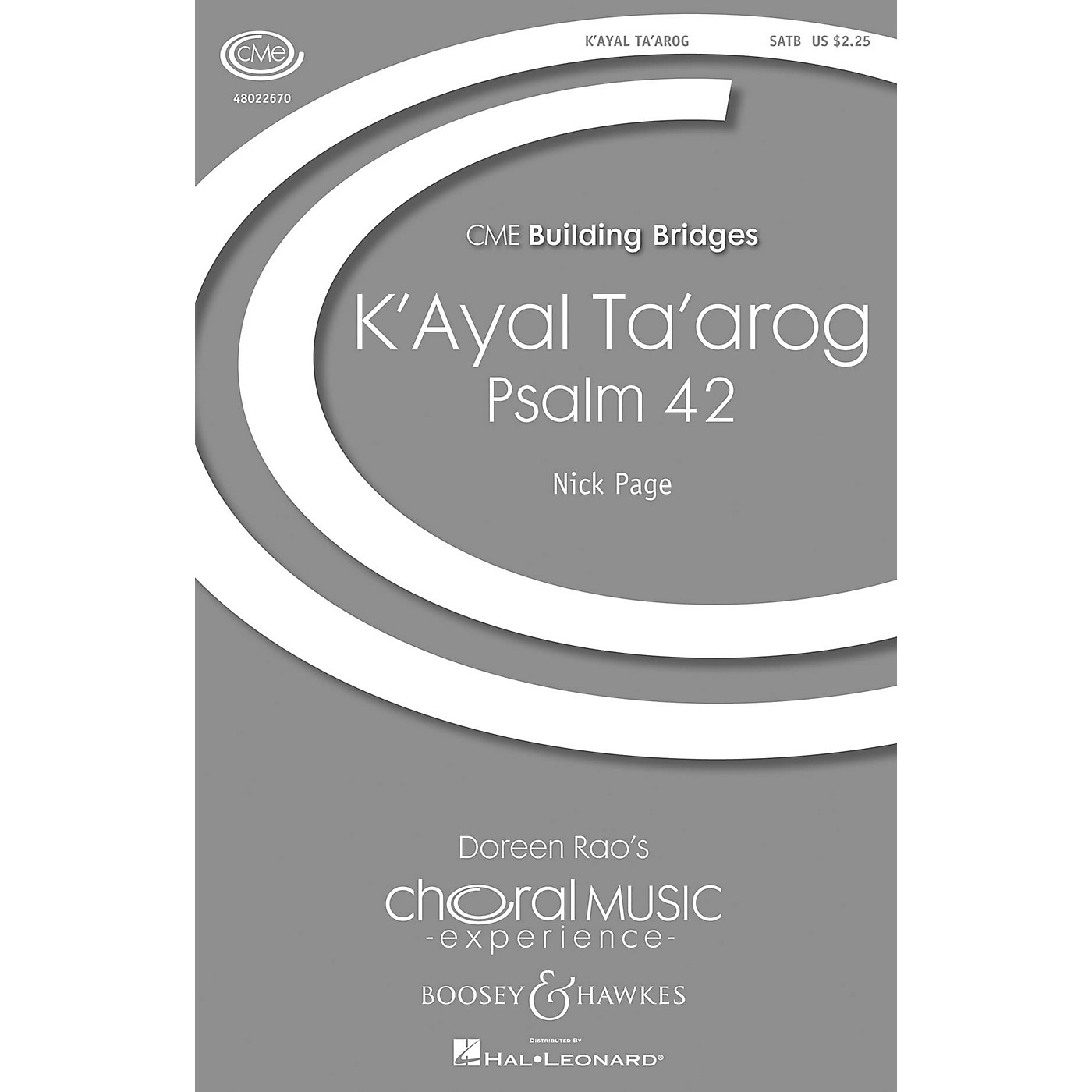 Boosey and Hawkes K'ayal Ta'arog (Psalm 42) (CME Building Bridges) SATB composed by Nick Page thumbnail