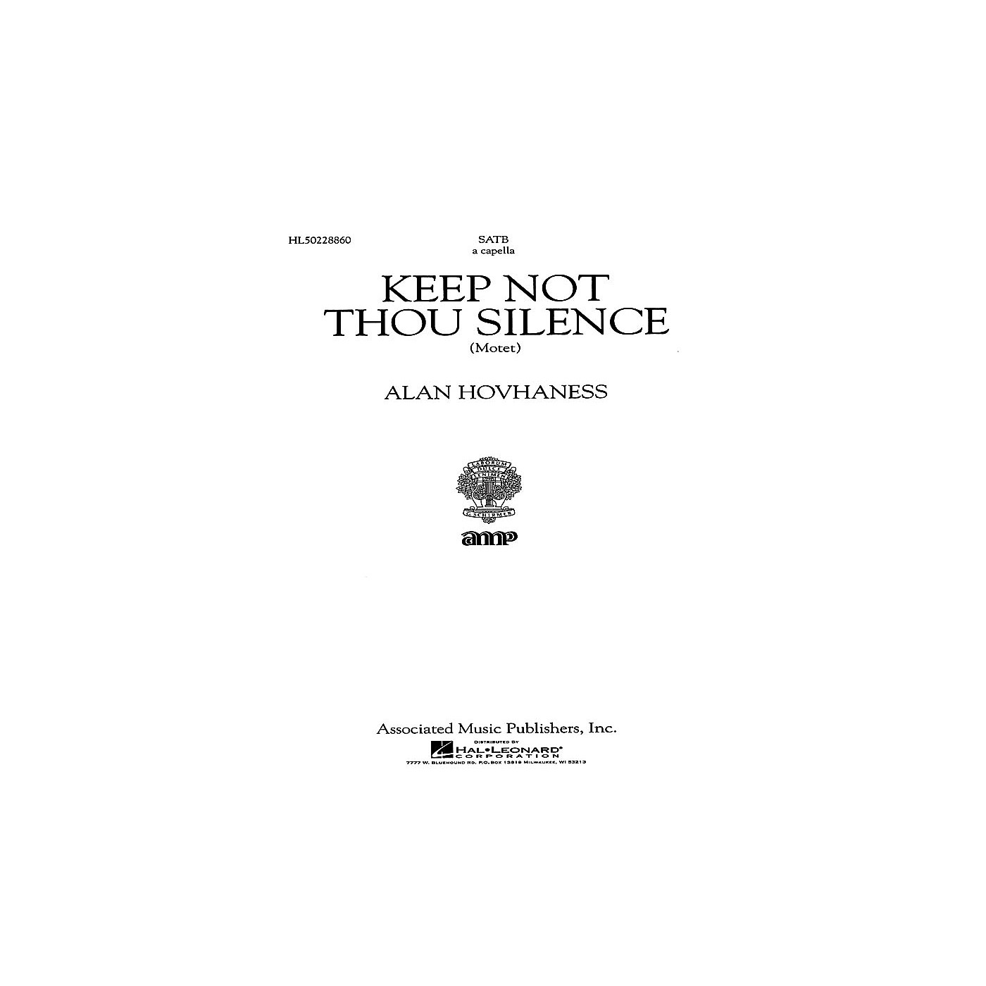 Associated Keep Not Thou Silence Motet A Cappella SATB composed by A Hovhaness thumbnail