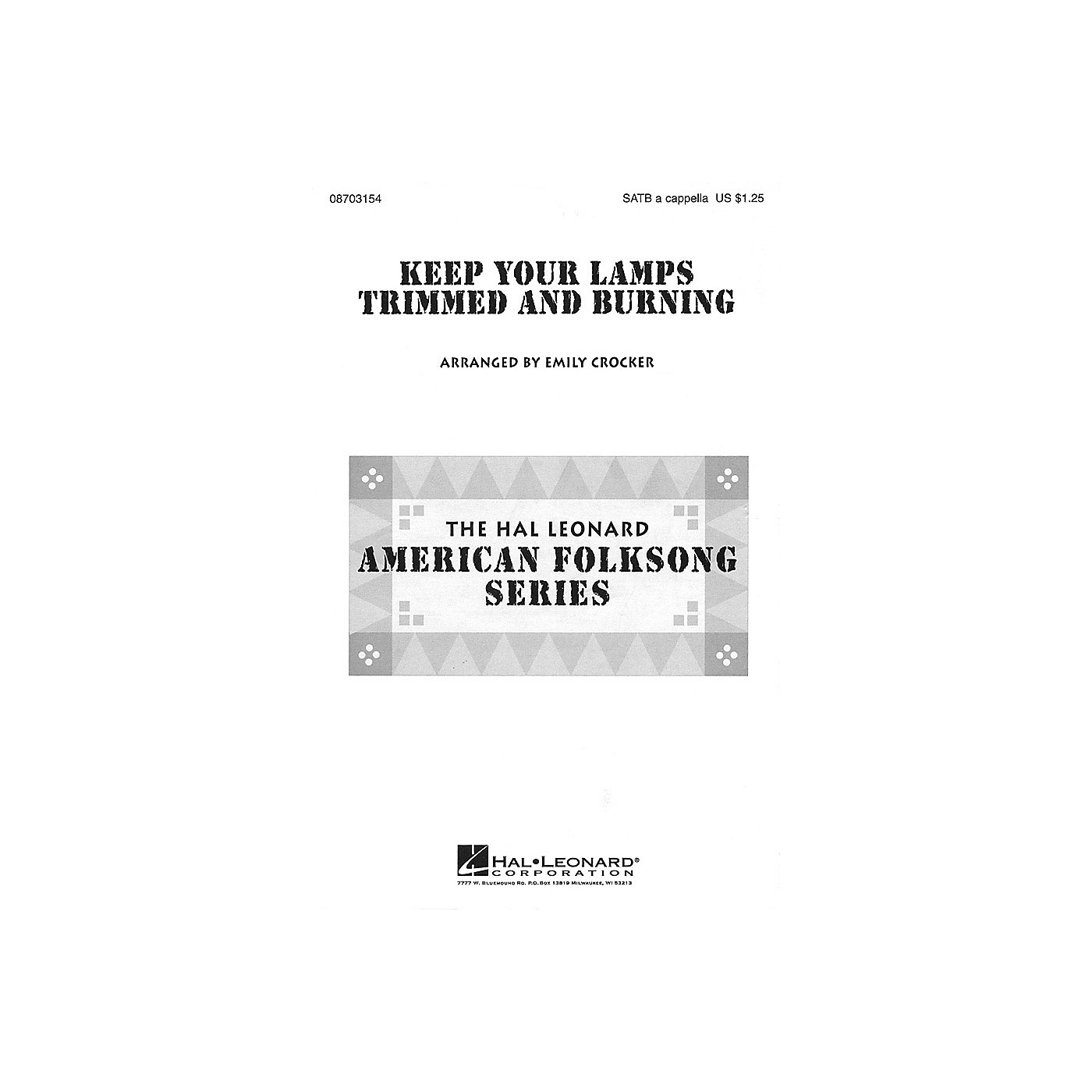 Hal Leonard Keep Your Lamps Trimmed and Burnin' SATB a cappella arranged by Emily Crocker thumbnail