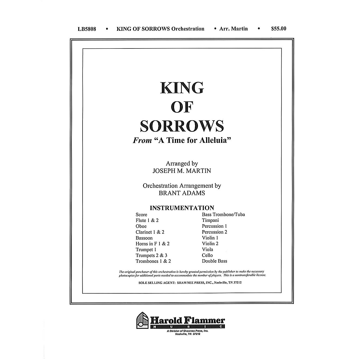 Shawnee Press King of Sorrows (from A Time for Alleluia) Score & Parts composed by Joseph M. Martin thumbnail