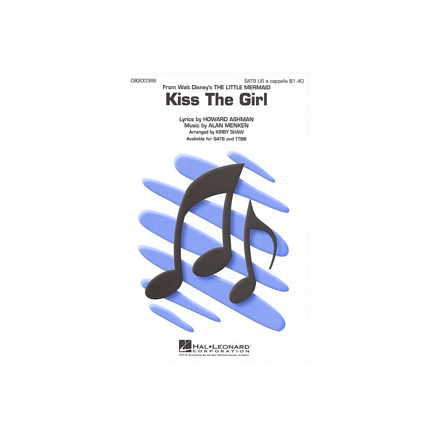 Hal Leonard Kiss the Girl (from The Little Mermaid) SATB a cappella arranged by Kirby Shaw thumbnail