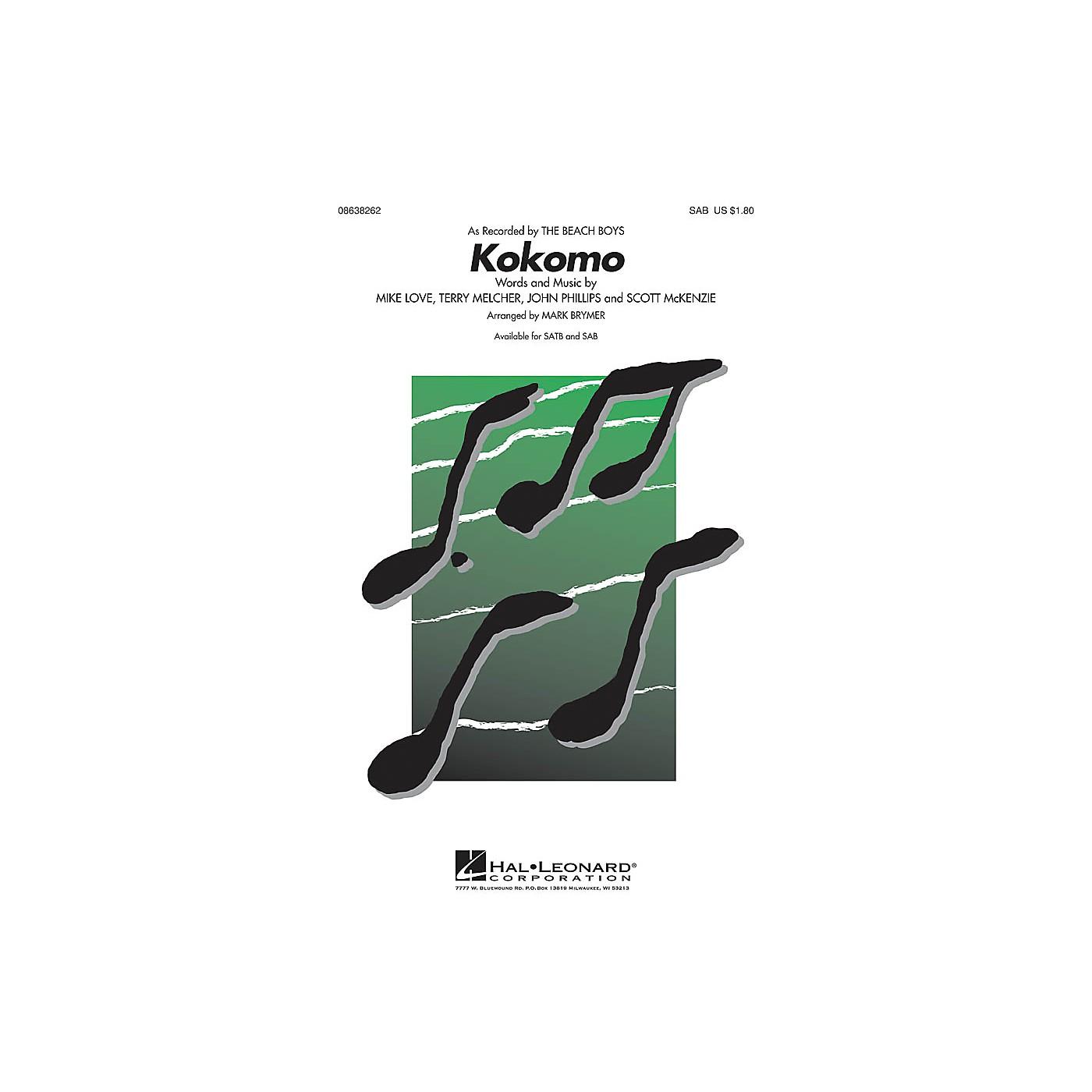 Hal Leonard Kokomo SAB by The Beach Boys arranged by Mark Brymer thumbnail