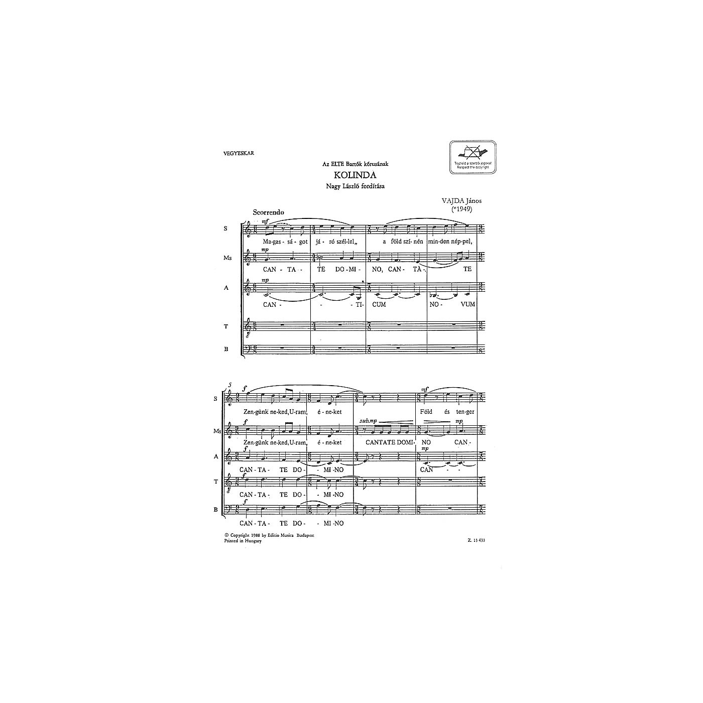 Editio Musica Budapest Kolinda TB Composed by János Vajda thumbnail