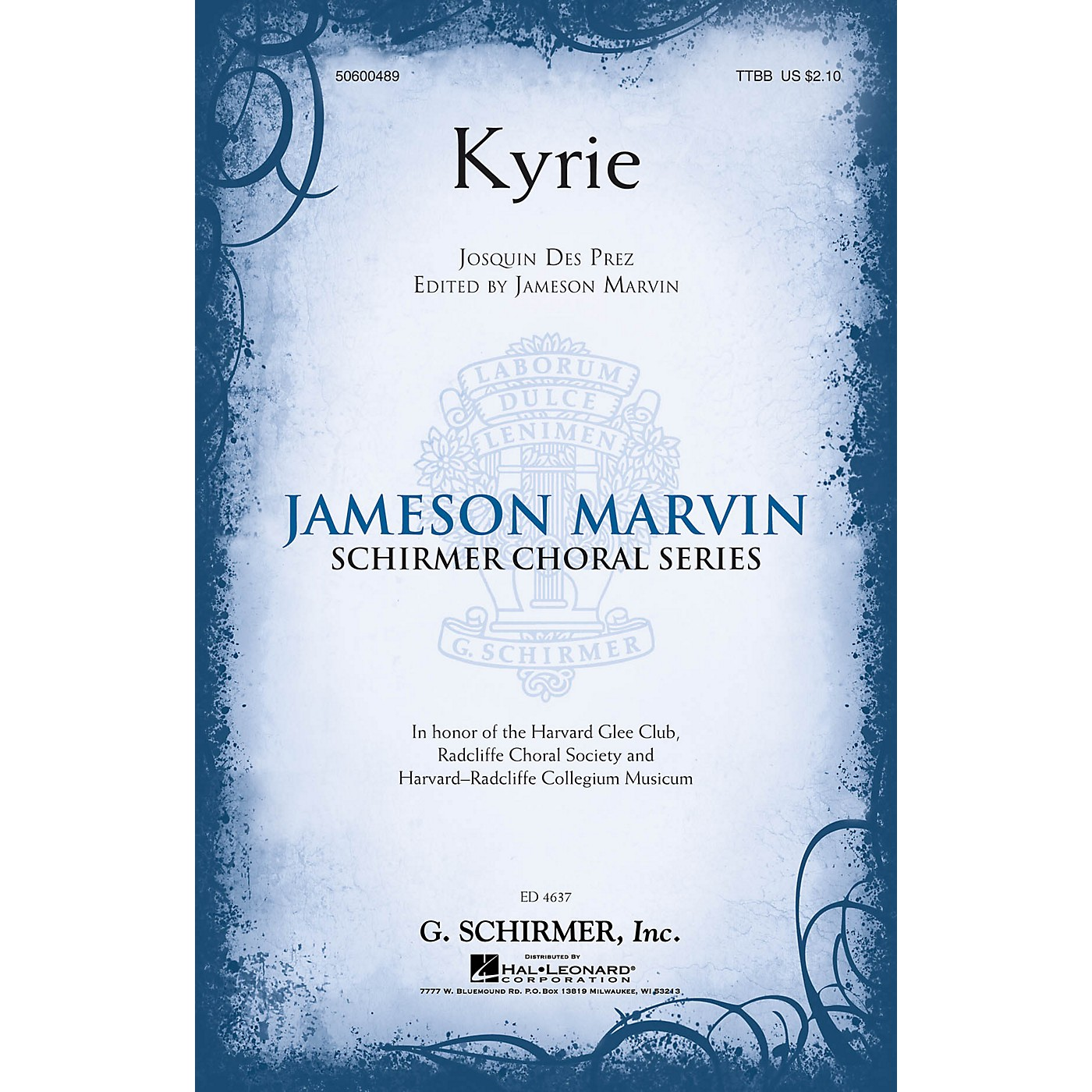 G. Schirmer Kyrie (Jameson Marvin Choral Series) TTBB A Cappella composed by Josquin des Pres thumbnail