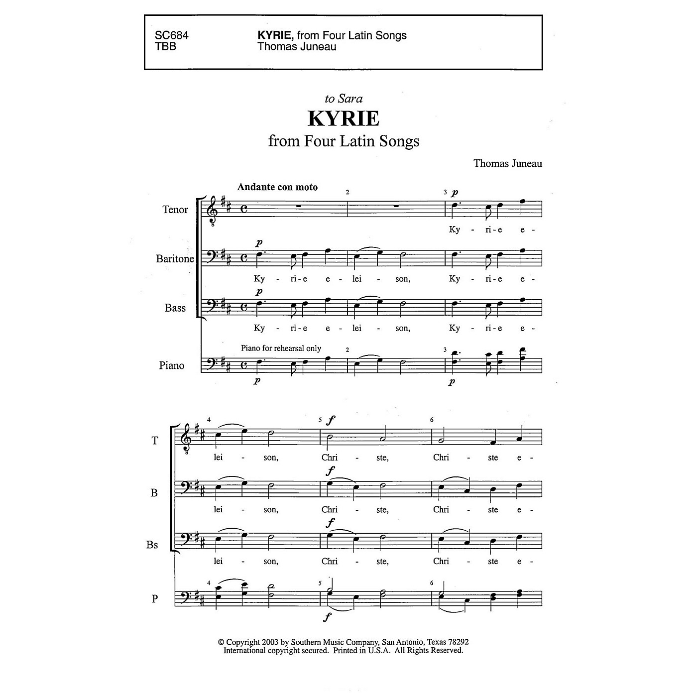 Southern Kyrie TBB Composed by Thomas Juneau thumbnail