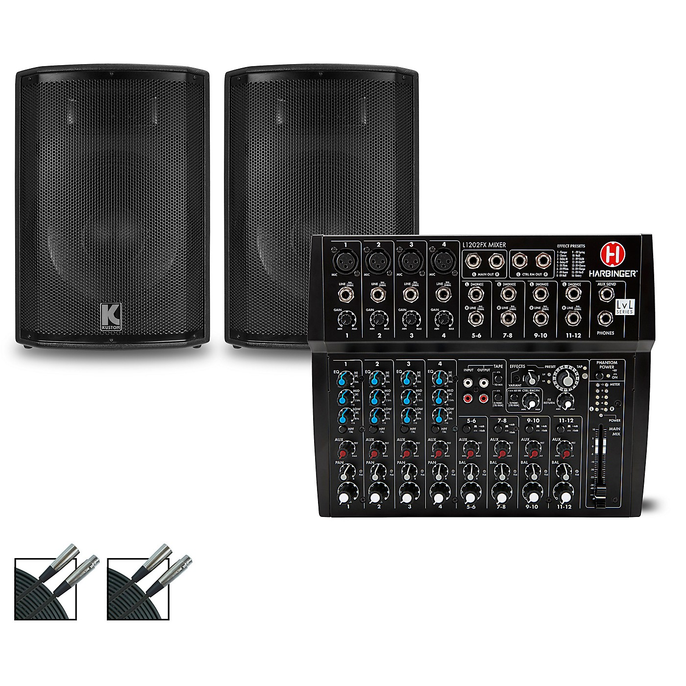 Harbinger L1202FX Mixer and Kustom HiPAC Speakers thumbnail