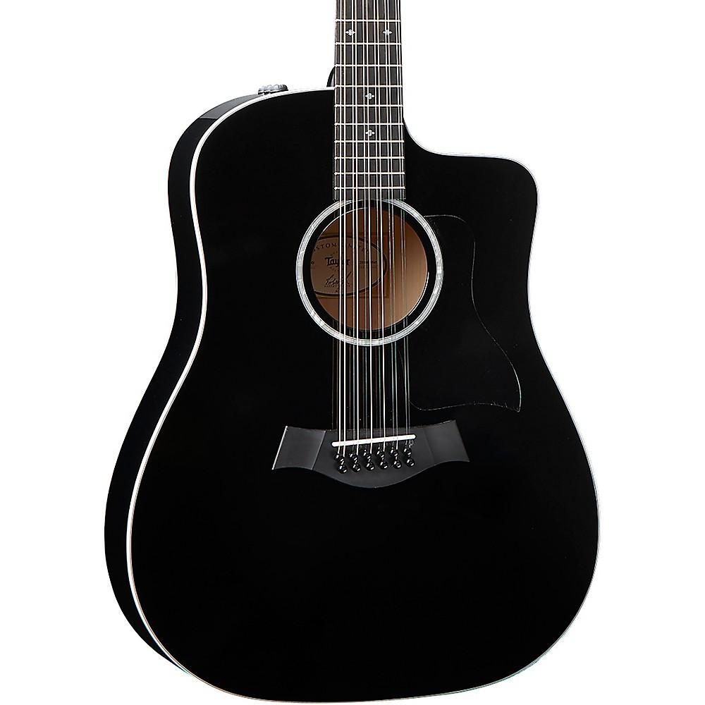 taylor 250ce blk dlx 12 string dreadnought acoustic electric guitar black ebay. Black Bedroom Furniture Sets. Home Design Ideas