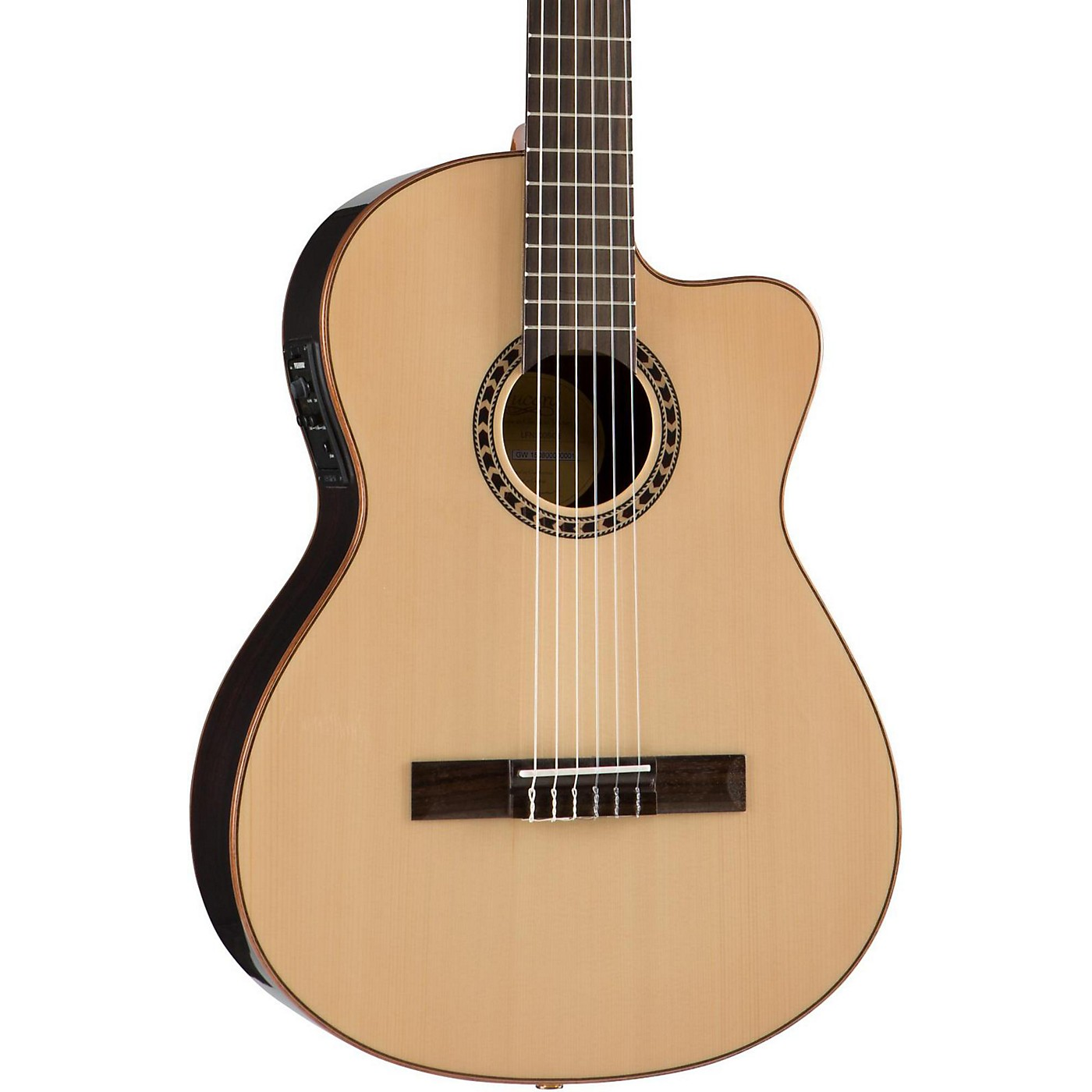Lucero LFN200SCE Spruce/Rosewood Thinline Acoustic-Electric Classical Guitar thumbnail