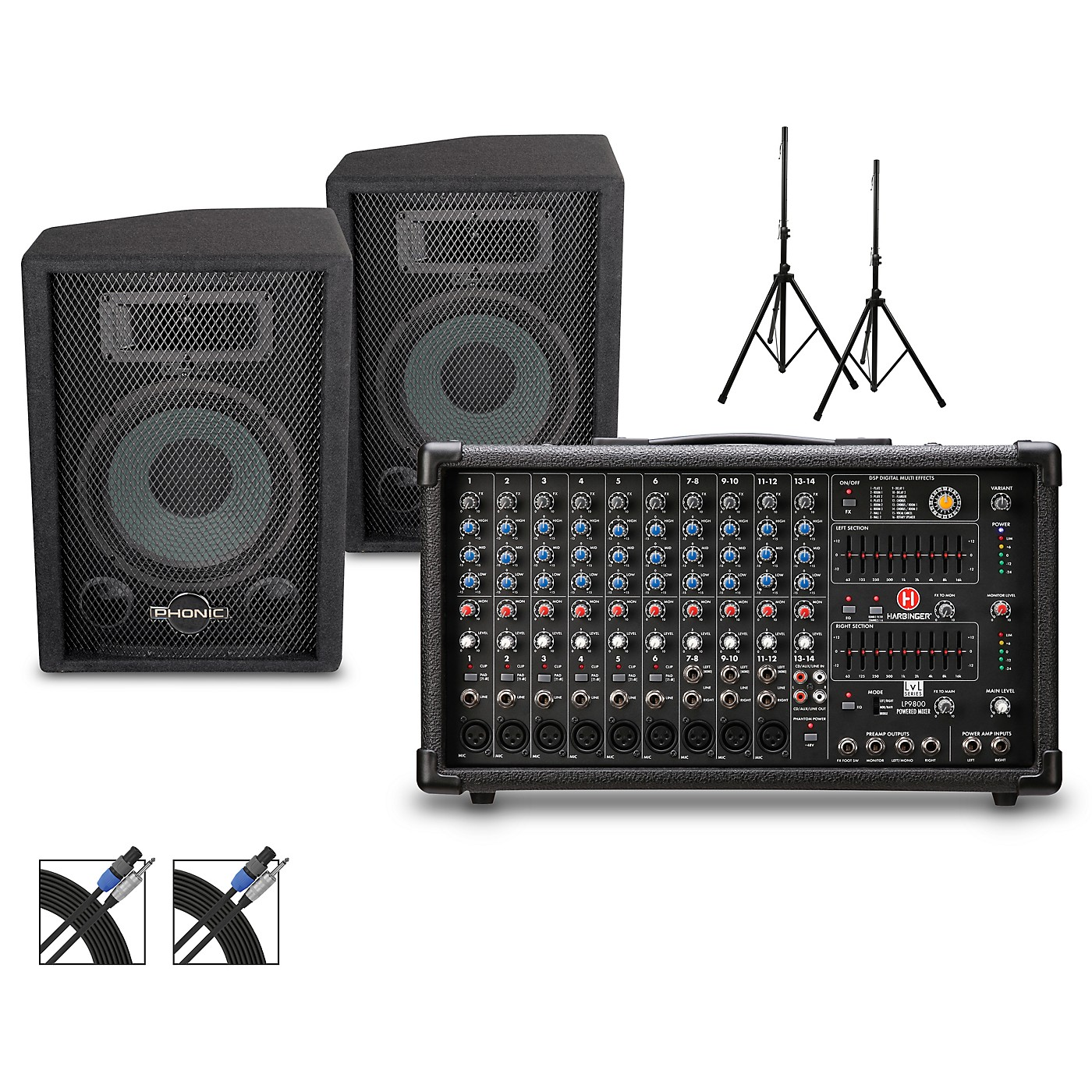 Harbinger LP9800 Powered Mixer with S7 PA and Stands Package thumbnail