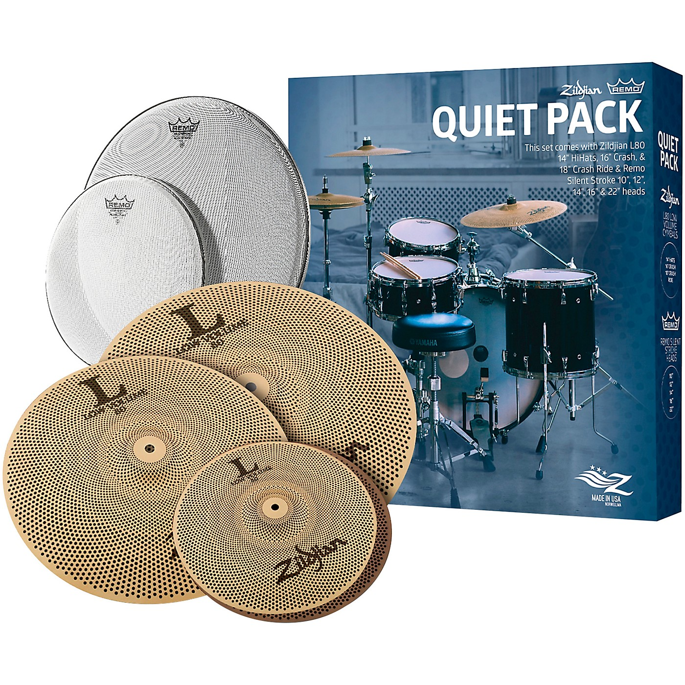 Zildjian LV468RH Low Volume Cymbal Pack with Remo Silentstroke Heads thumbnail