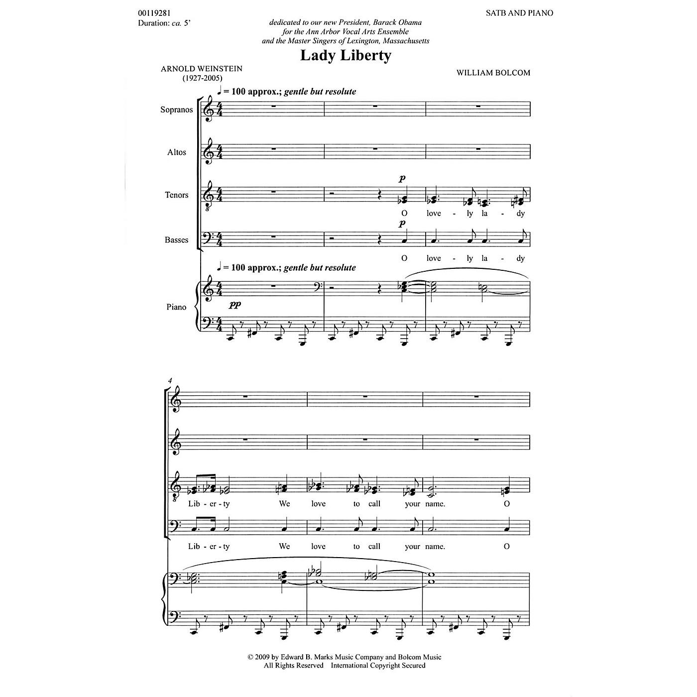 Edward B. Marks Music Company Lady Liberty (SATB and Piano) Composed by William Bolcom thumbnail