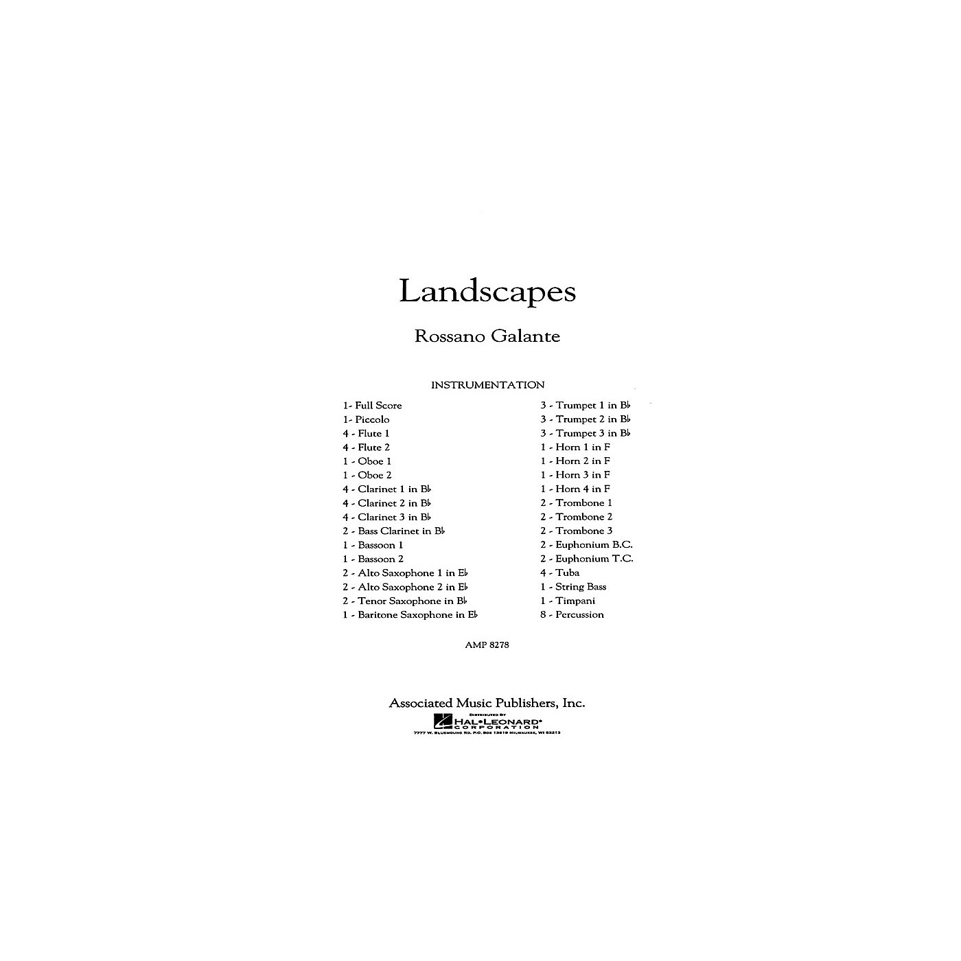 G. Schirmer Landscapes Concert Band Level 5 Composed by Rossano Galante thumbnail