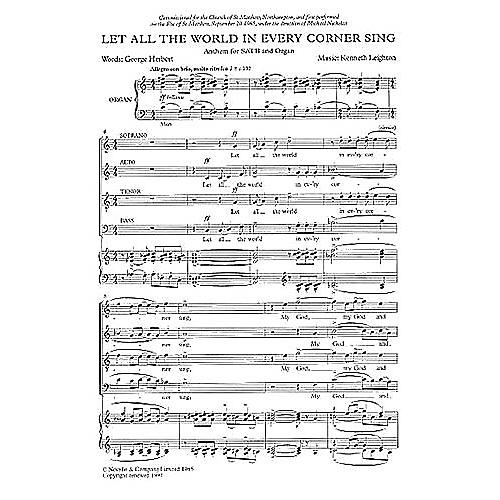 Music Sales Let All the World in Every Corner Sing SATB Composed by Kenneth Leighton thumbnail