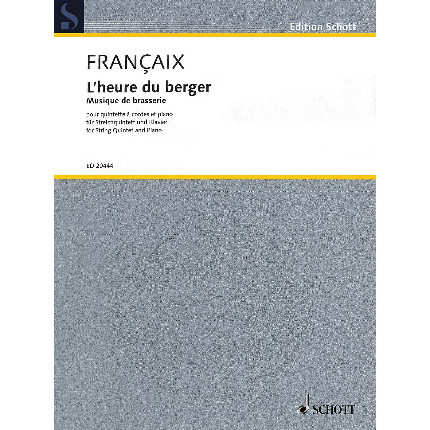 Schott L'heure du berger: Musique de brasserie String Series Softcover Composed by Jean Françaix thumbnail
