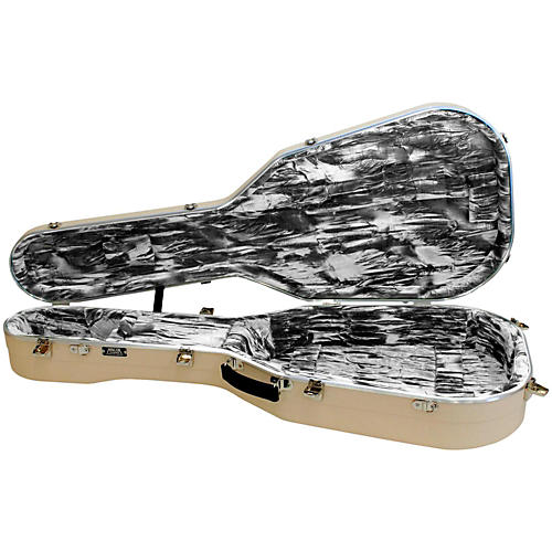 Hiscox Cases Lifelflite Artist Acoustic Guitar Case - Ivory Shell/Silver Interior thumbnail