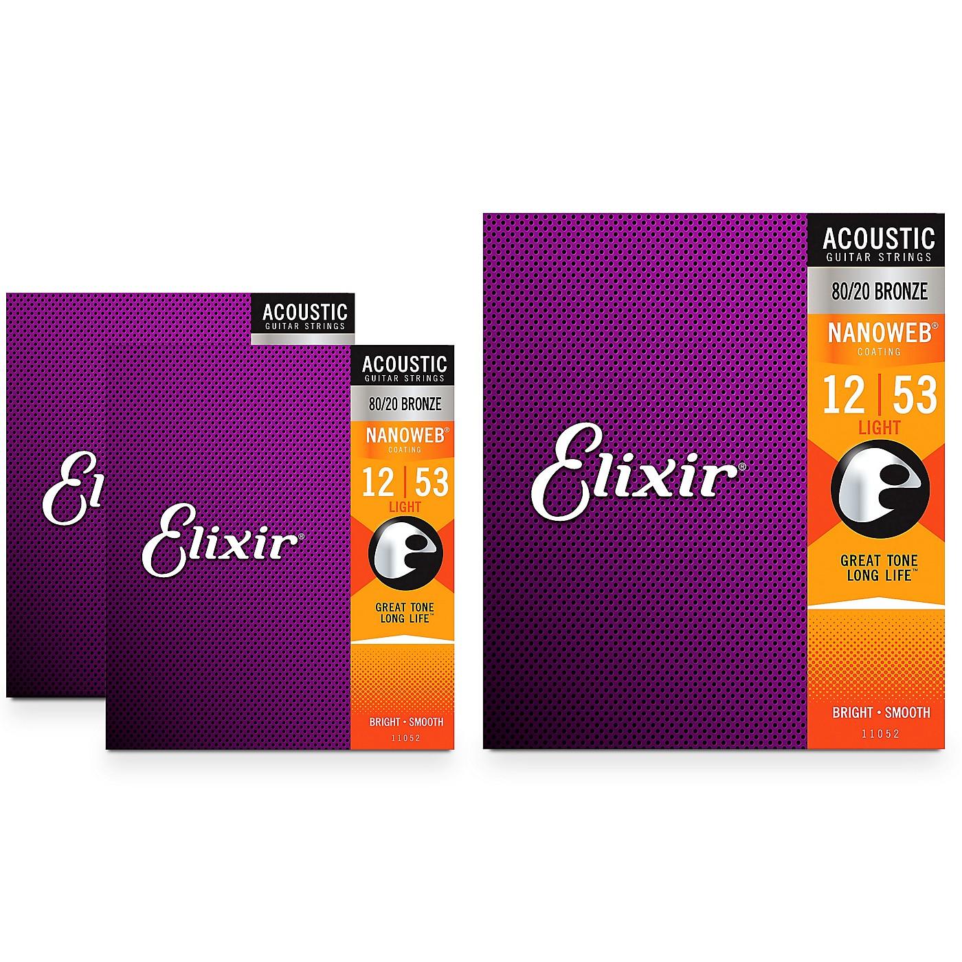 Elixir Light Nanoweb Acoustic Guitar Strings (.012-.053) 3 Pack thumbnail