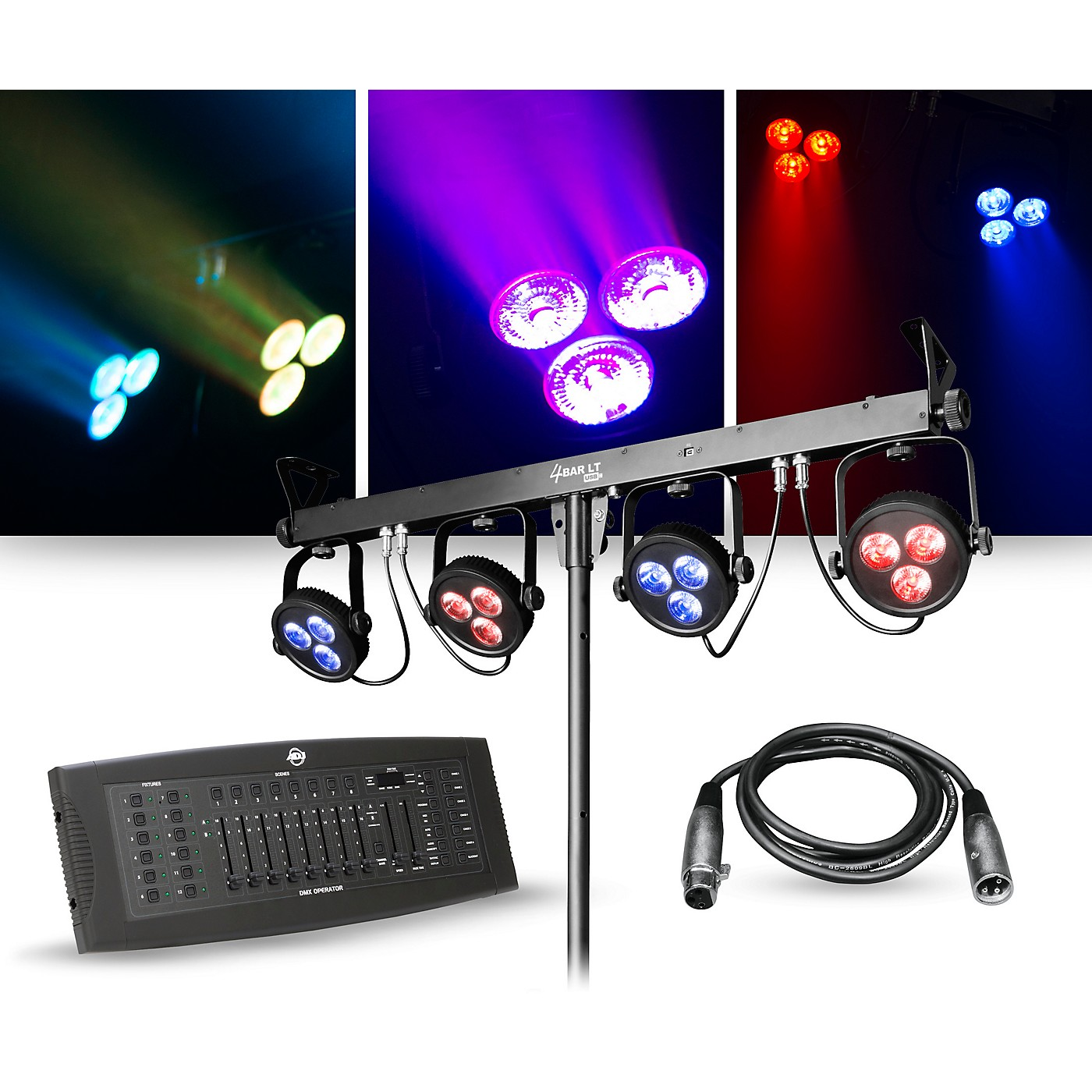 CHAUVET DJ Lighting Package with 4BAR LT USB RGB LED Fixture and DMX Operator Controller thumbnail