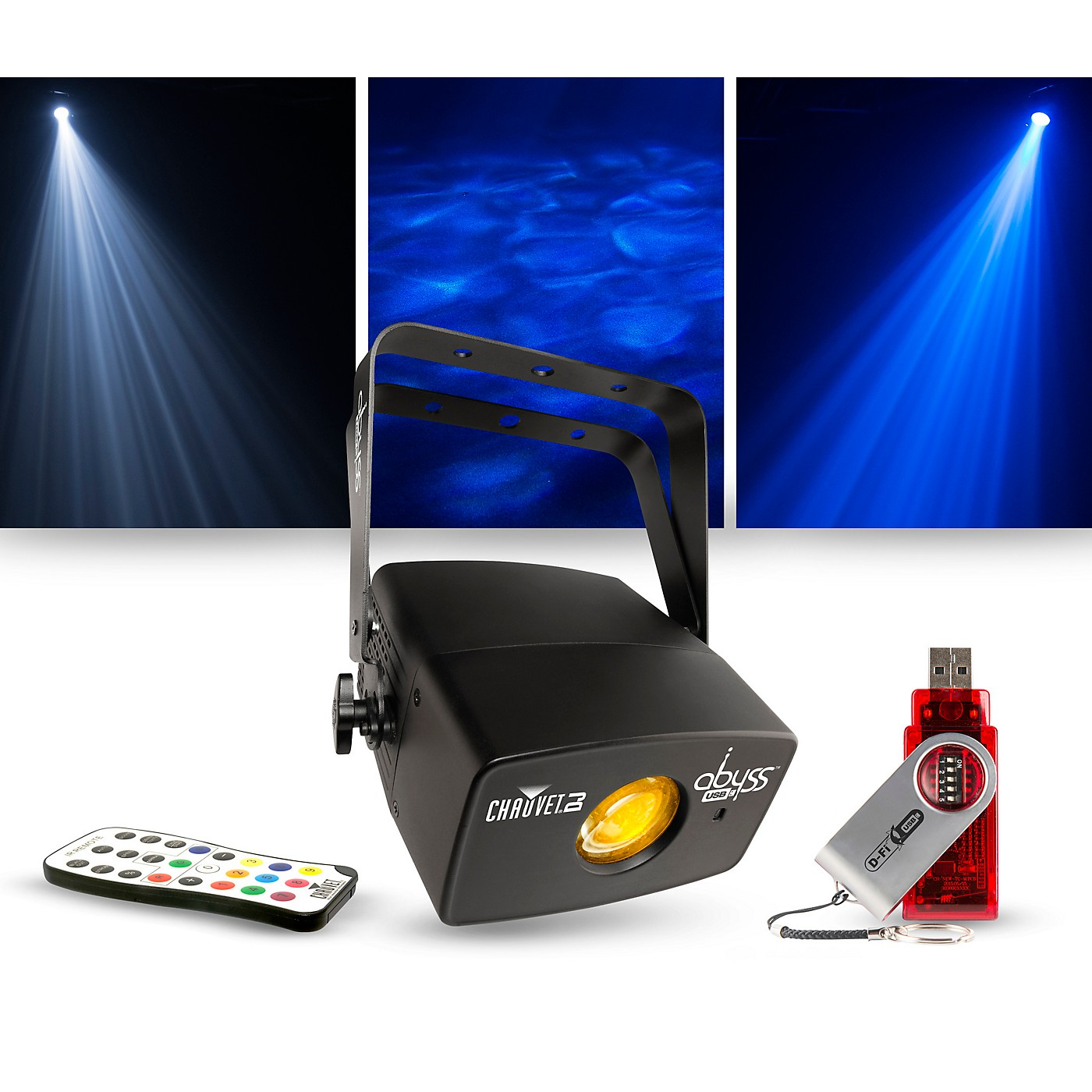CHAUVET DJ Lighting Package with Abyss USB Multicolored Water Effect with IRC-6 and D-Fi Controllers thumbnail
