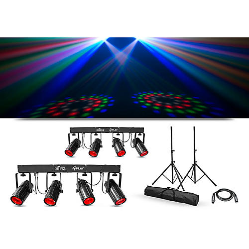 CHAUVET DJ Lighting Package with Two 4PLAY LED Effect Lights, Stands and Cable thumbnail