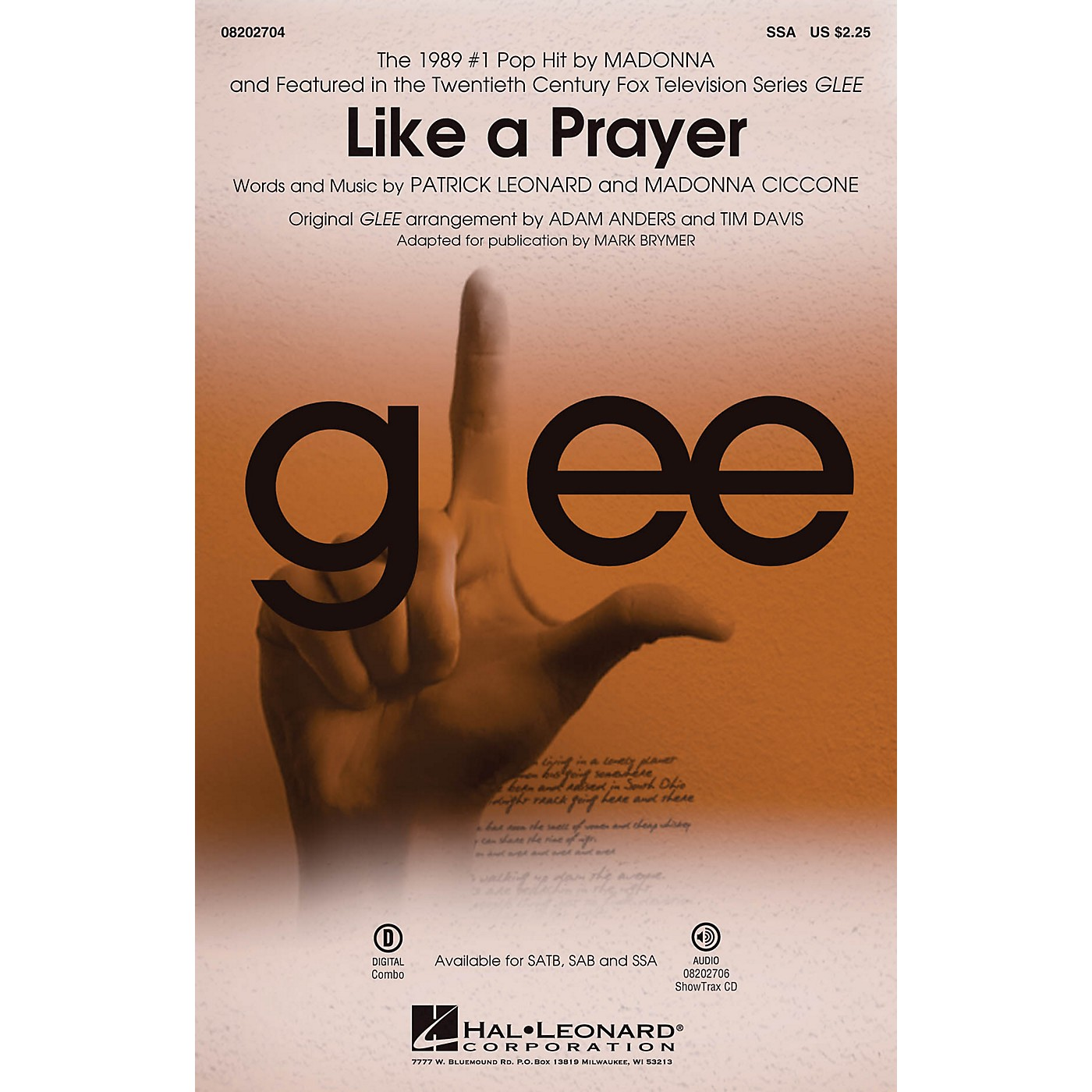 Hal Leonard Like A Prayer (featured On Glee) (featured in Glee) SSA by Madonna arranged by Adam Anders thumbnail