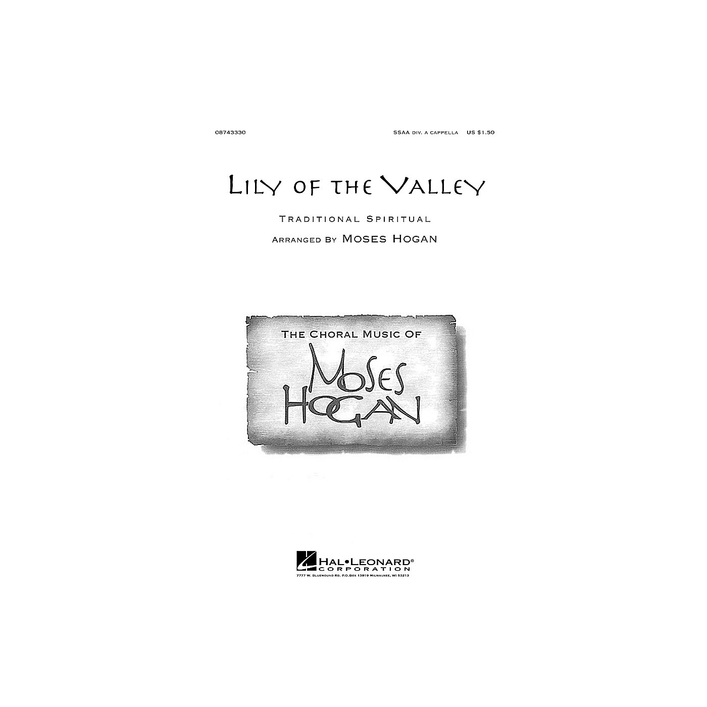 Hal Leonard Lily of the Valley SSAA Div A Cappella arranged by Moses Hogan thumbnail