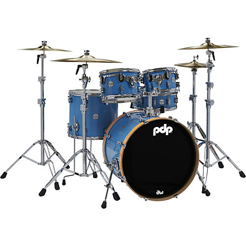 PDP by DW Limited Edition Concept Maple 5-Piece Shell Pack Blue with Orange Bass Drum Hoops thumbnail