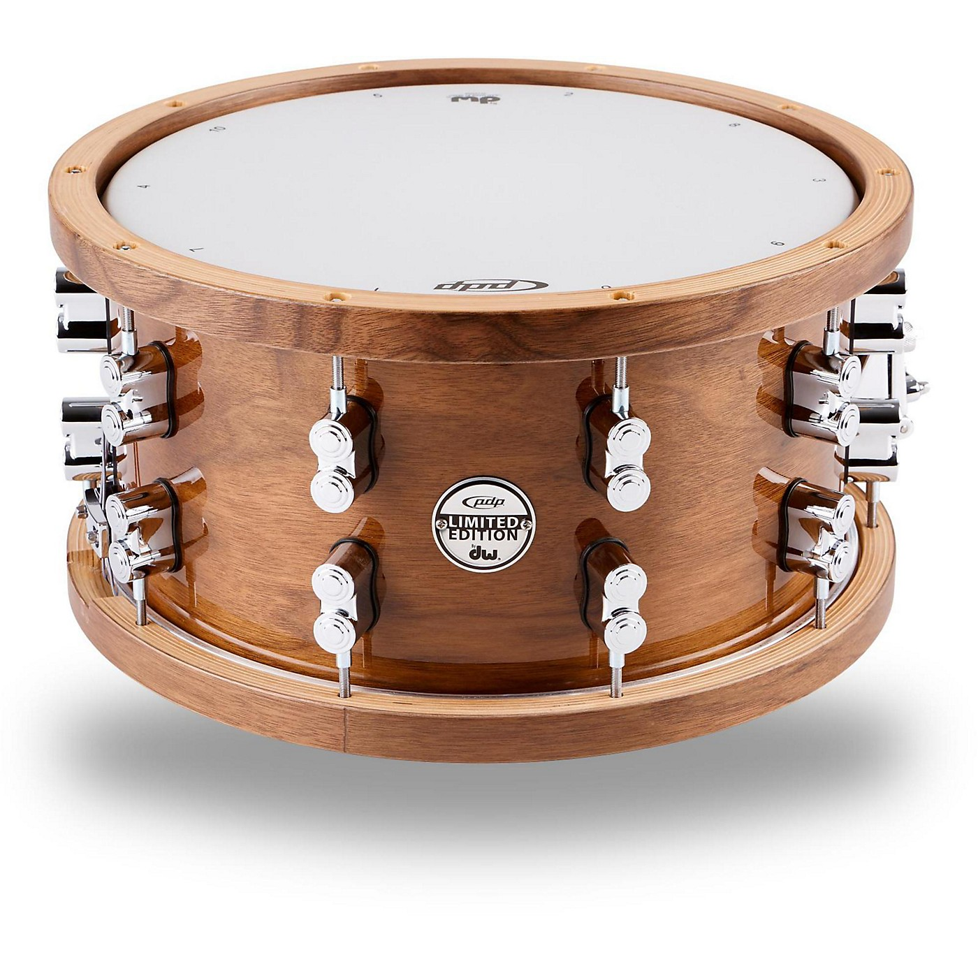 PDP by DW Limited-Edition Dark Stain Maple and Walnut Snare With Walnut Hoops and Chrome Hardware thumbnail
