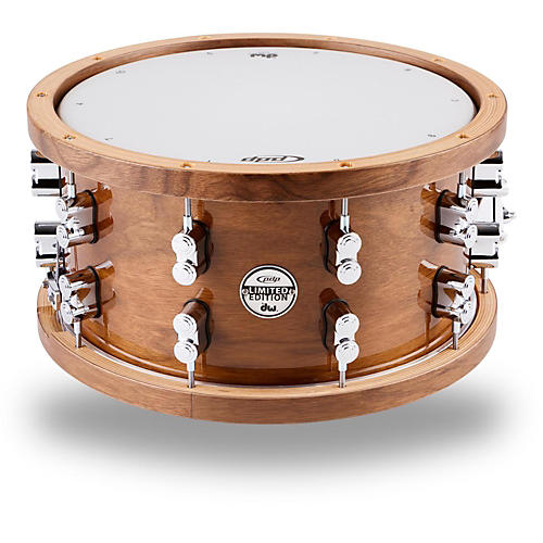 PDP by DW Limited Edition Dark Stain Maple and Walnut Snare with Walnut Hoops and Chrome Hardware thumbnail