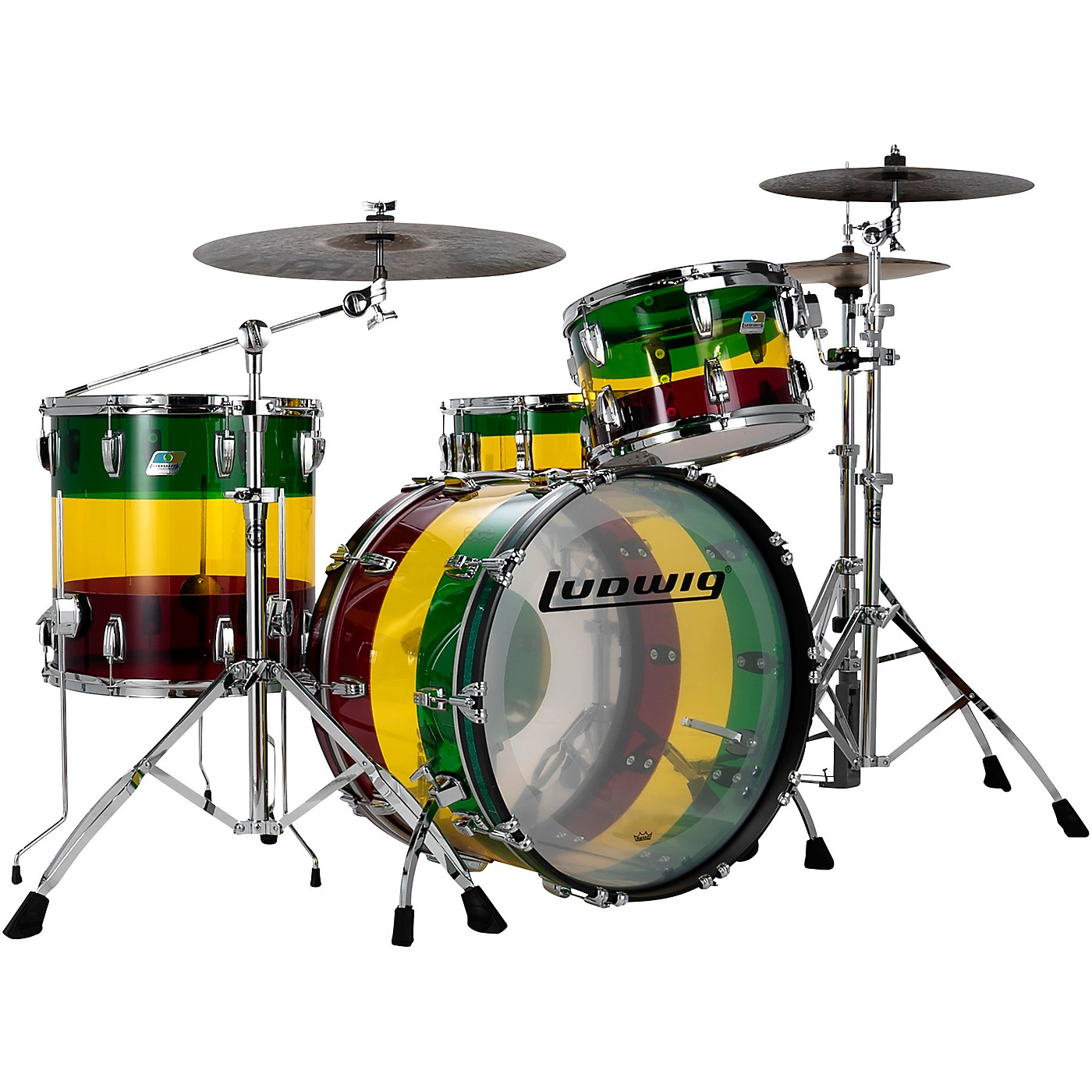 Ludwig Limited Edition Vistalite 3 piece FAB Shell Pack with 22 in Bass Drum- Island Sunset thumbnail