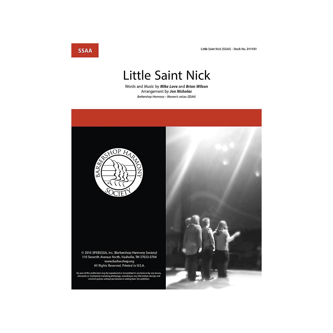 Barbershop Harmony Society Little Saint Nick SSAA A Cappella arranged by Jon Nicholas thumbnail