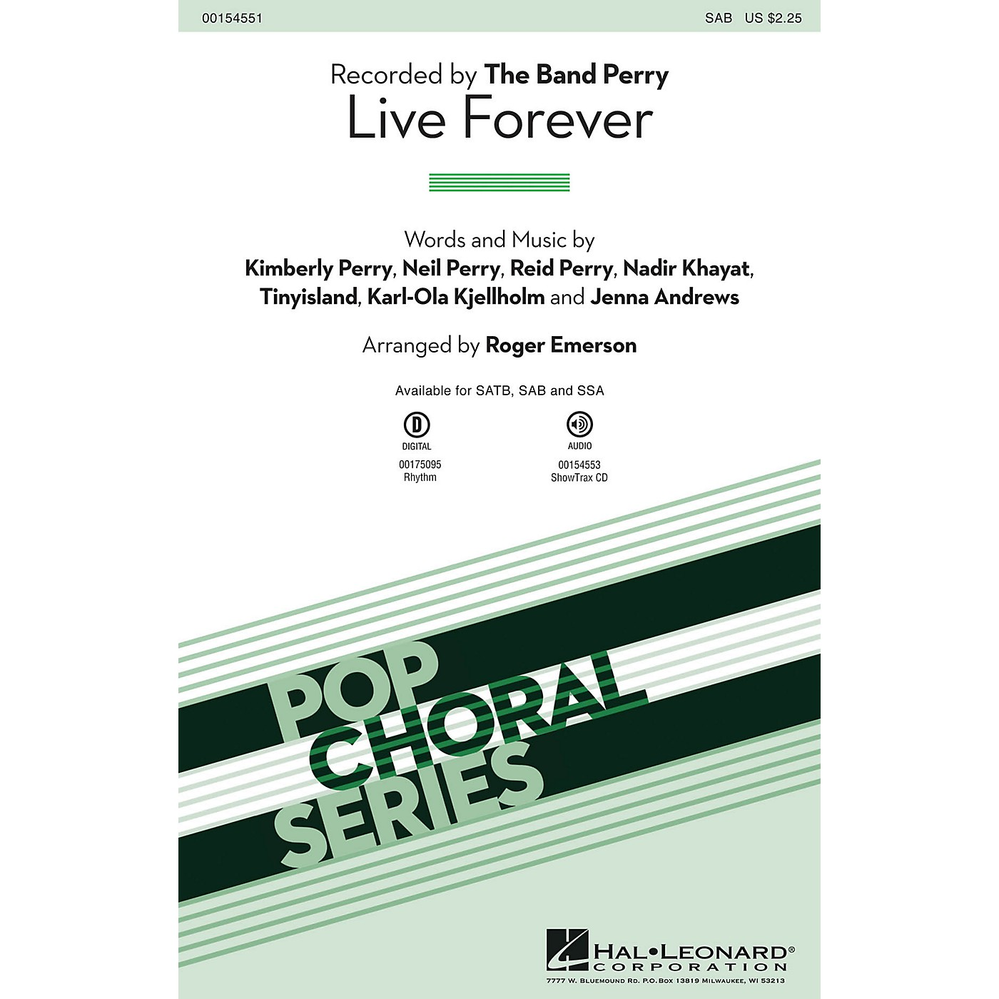 Hal Leonard Live Forever SAB by The Band Perry arranged by Roger Emerson thumbnail