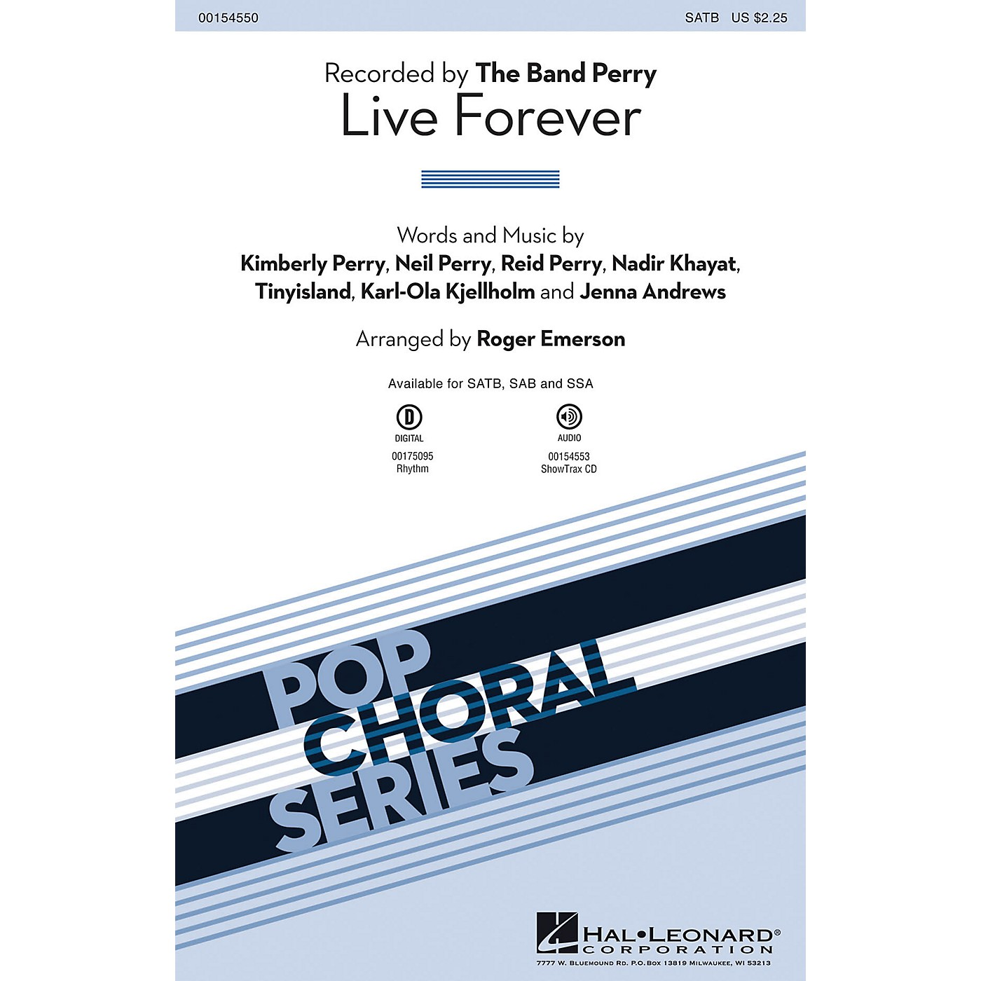 Hal Leonard Live Forever SATB by The Band Perry arranged by Roger Emerson thumbnail