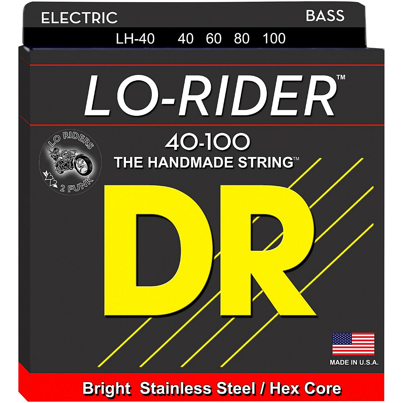 DR Strings Lo Rider LH-40 Lite Stainless Steel 4 String Bass Strings thumbnail